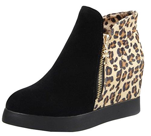 Boots Wedge Stylish Heel Splicing Black Round Women's Zipper SHOWHOW Short Hidden Toe C60vw4x