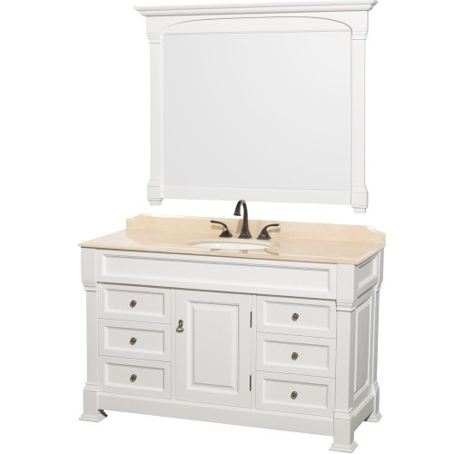 ndover 55 inch Single Bathroom Vanity in White with Ivory Marble Top with White Undermount Sink ()