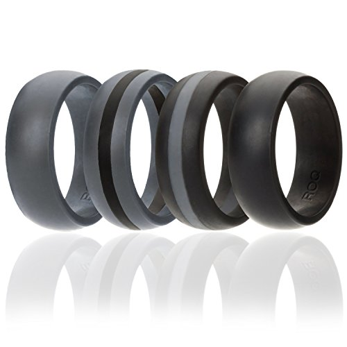 g For Men By ROQ, 4 Pack Silicone Rubber Band - Black, Black With Thin Grey Stripe, Grey With Black Stripe, Grey, Size 11 (Profile Two Stone Set)