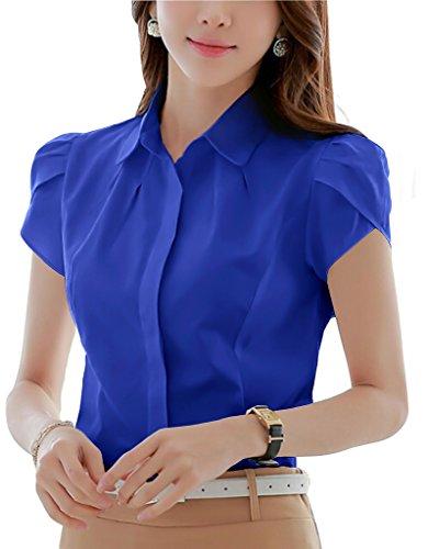 Women's Cotton Pleated Button Down Short Sleeve Shirt Work Blouse Royal Blue 2 ()