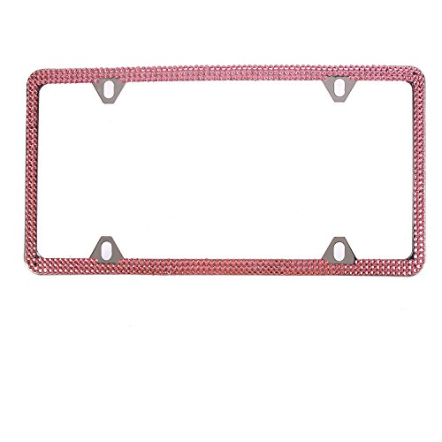 Global_Shopper Fashion 4 Holes Pink Bling Crystal License Plate Frame Cute Rhinestone Car/Truck/SUV License Plate Holder For Woman,Lady,Girl (1 Frame) ()