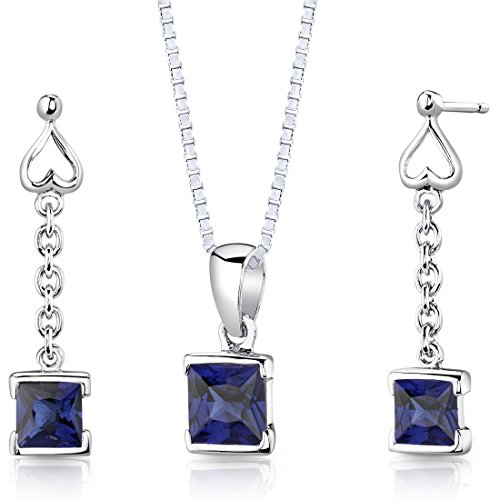 Created Sapphire Pendant Earrings Necklace Sterling Silver Rhodium Nickel