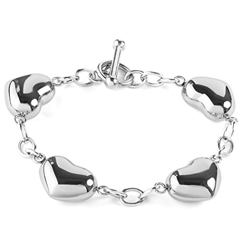 ELYA Jewelry Womens Stainless Steel Puffed Hearts Chain Charm Bracelet, 7.5-Inch, White