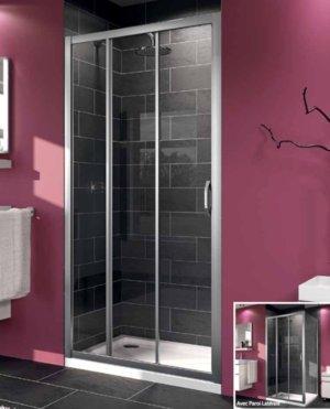Mampara de ducha Aqua 2 en 3 paneles: fijo +, reversible, japonés ...