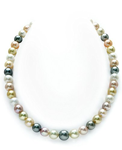 (THE PEARL SOURCE 14K Gold 8-10mm Round Genuine Multicolor South Sea Cultured Pearl Necklace in 18