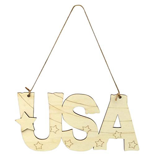 Independence Day Decorations Wooden Plaques Wall Art Love Heart Stars Shape Happy 4th of July Letters Print Unfinished Rusitic Wood Signs Freedom Inspire USA Patriotic Wood Truck Sign Frame