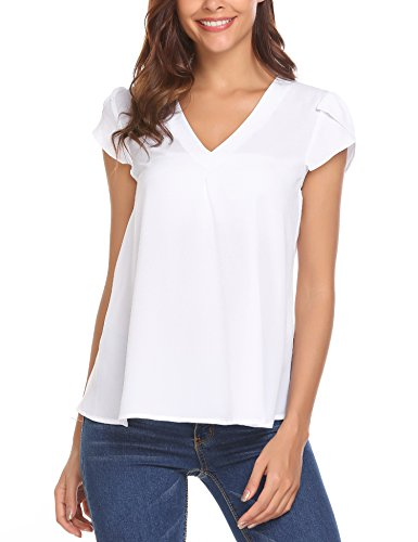 Concep Women's Casual Loose V Neck Cap Sleeve Top Chiffon Blouse Shirts (White - Cap Sleeve White Blouse