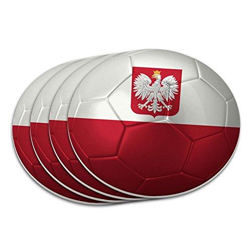 Poland with Coat of Arms Flag Soccer Ball Futbol Football Coaster Set (Poland Arms)