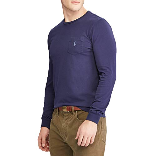 (Polo Ralph Lauren Mens Classic Fit Long Sleeves Cotton T-Shirt (Medium, Newport Navy))
