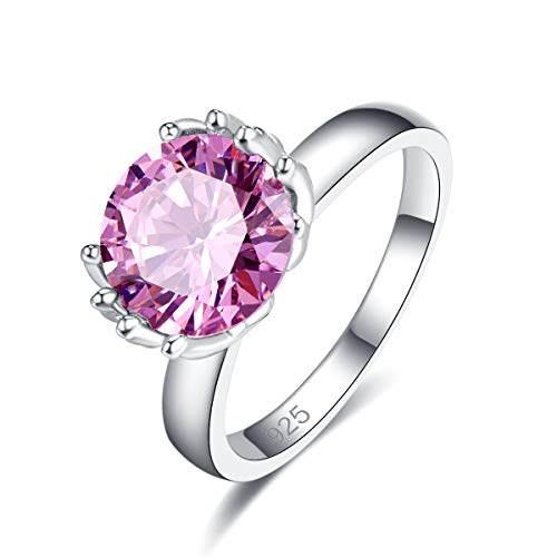 - Narica Women's 925 Sterling Silver Filled Round Cut Pink Topaz Promise Proposal Engagement Wedding Rings Size 9