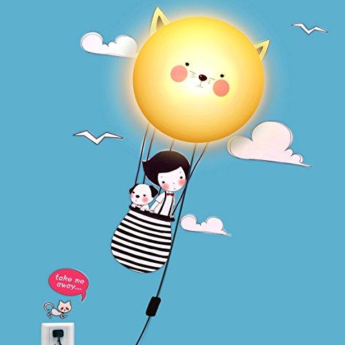 Niteangel Liebenswert Kinder Wandleuchte, Die Kombination von Wandtattoo und LED Lampe - Setzen Sie die Segel