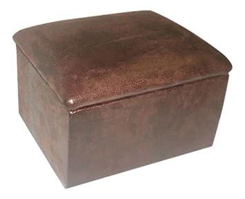 Pequeño marrón de piel sintética caja de almacenamiento taburete de puf reposapiés con tapa \ muebles
