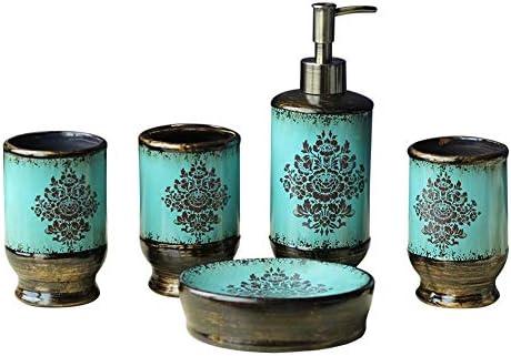 FXin 5ピースバスルームセット、セラミック素材アメリカンスタイルの家具装飾パーソナルケア衛生キット シャワー室