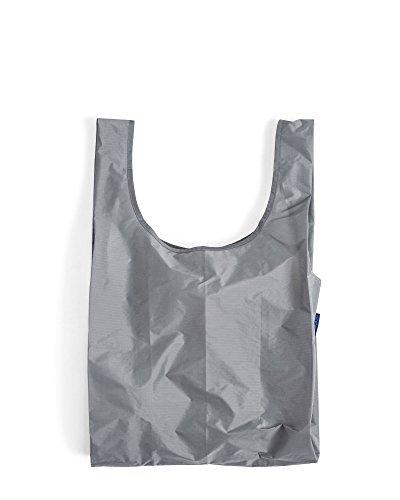 BAGGU Standard Reusable Shopping Bag, Eco-friendly Ripstop Nylon Foldable Grocery Tote, Grey (2018)
