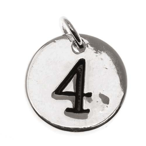 Silver Plated Round Number Charm '4' (1/2 Inch)