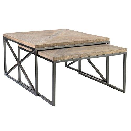 East At Main 's Moraine Tan Square Table Set (Iron Square Tables Nesting)