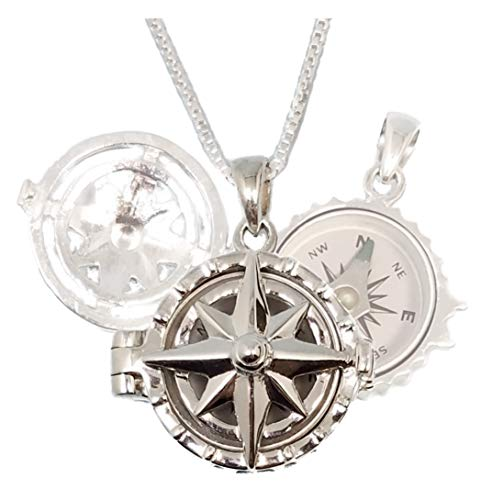- Stanley London Sterling Silver Compass Rose Locket with Working Compass (Locket with Chain No Personalization)