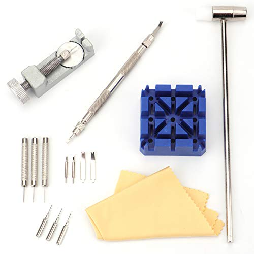 Foraineam 15-Piece Watch Repair Kit, Watch Band Link Remover Repair Fix Kit Spring Bar Tool Set ()