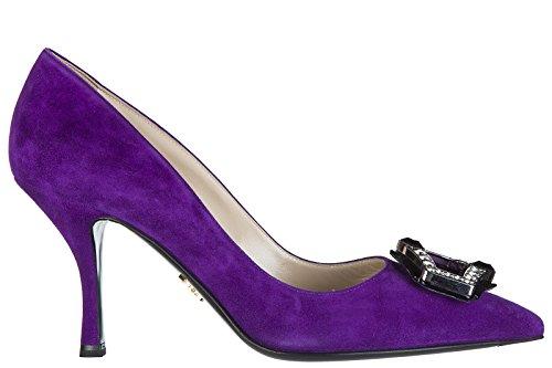 Prada Suede Heels (Prada Women's Suede Pumps Court Shoes High Heel Jewels Purple US Size 6 1I722H 812 FO344)