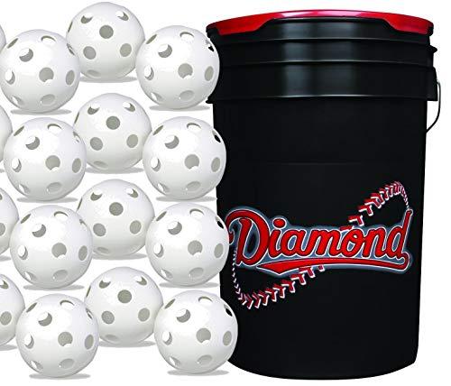 Diamond 6-Gallon Ball Bucket with 30 Sports White Plastic Baseballs Hollow Balls for Wiffle Practice