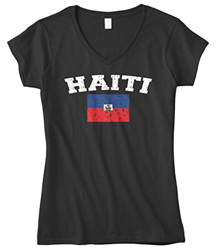 Cybertela Women's Faded Distressed Haiti Flag Fitted V-neck T-shirt (Black, Small)
