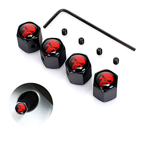 Dsycar 4Pcs/Set Classic Skull Anti-Theft Chrome Car Wheel Tire Valve Stem Cap for Car/Motorcycle,Air Leakproof and Protection Your Valve Stem