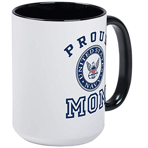 Proud US Navy Mom RINGER Mug - 11oz Coffee Mug, Ceramic 11oz Coffee Cup