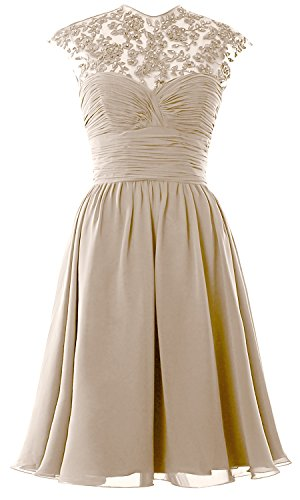 Sleeve Lace Ball Party Dress Women MACloth Cap High Gown Short Neck Bridesmaid Wedding Champagner xwTnSIfXq