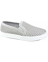 Women's Causal Slip On White Sole Round Toe Boat Sneaker Shoes - Zebra by