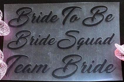 Team Bride Iron On T-shirts Transfer Vinyl Wedding Party Bridesmaid AUNTIE OF THE BRIDE Hen Do Party Vinyl Black Murrielle Bride Squad Bride