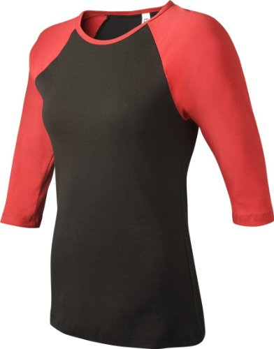 Bella+Canvas Ladies' Baby Rib 3/4-Sleeve Contrast Raglan Tee - Black/ Red - XL