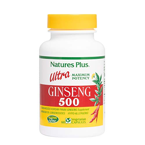 Natures Plus Ultra Ginseng - 500 mg, 60 Vegetarian Capsules - Maximum Potency Korean Panax Ginseng Supplement, Energy & Performance Booster, Memory Enhancer, Stress Reducer - Gluten Free - 60 Servings