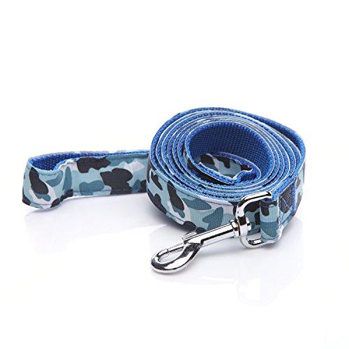 TAIDA Heavy Duty Dog Leash, 6 Feet Long, 1 Inch Wide, Nylon Camouflage Dog Leash for Small and Medium Dogs(Blue)