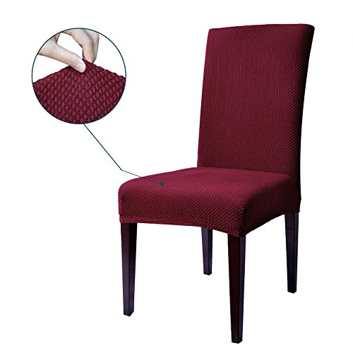 Subrtex Stretch Dining Room Chair Slipcovers (2, Wine (Bedroom Living Room Chair)