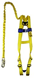 Peakworks (4400-BA1CKTS) V8252366 Fall Protection Kit, 3 Point Adjustable Harness in Chest and Legs with Sewn Attached 6\' Shock Absorbing Lanyard, Polyester, Universal, Yellow