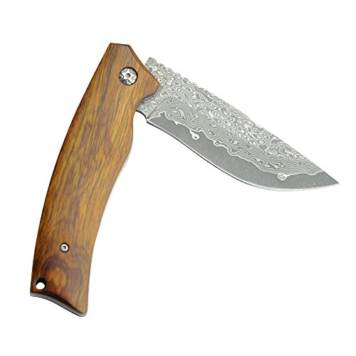 KUBEY DM134 Gentlemans Pocket Knife Folding Hunting Knives with Damascus Steel Blade Wood Handle Bearing Flipper Outdoor Camping Tactical EDC Tool Knives by KUBEY (Image #3)
