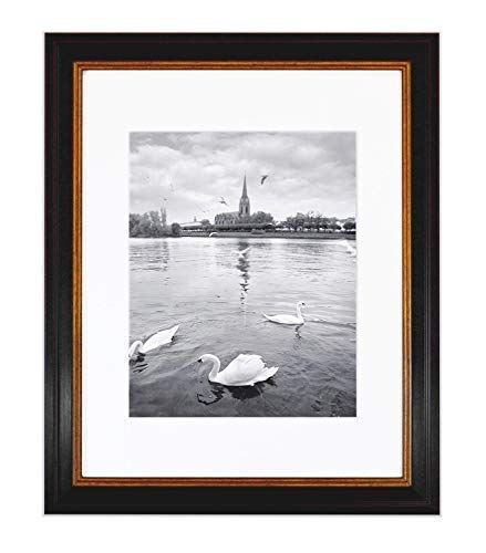 Golden State Art 11x14 Photo Frame with White Mat for 8x10 Photos & Real Glass, 1.25-Inch Wide, Black with Burgundy and Gold Trim