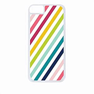 Candy Stripes- Case for the Apple Iphone 4-4s Universal-Hard White Plastic Outer Shell with Inner Soft Black Rubber Lining