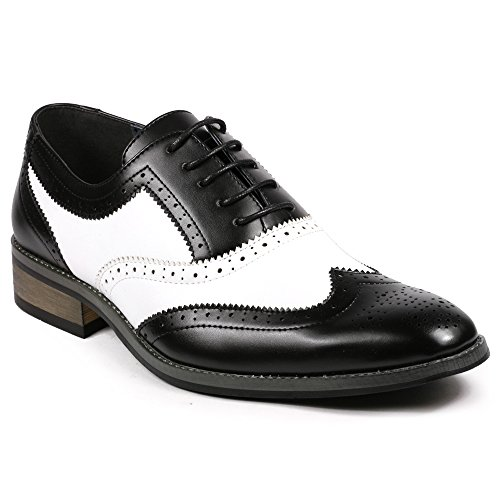- UV SIGNATURE PA002 Men's Two Tone Perforated Wing Tip Lace Up Oxford Dress Shoes (11, Black White)