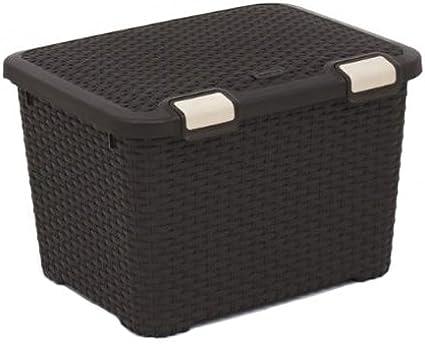 CURVER 210279 -Caja de almacenaje, Mimbre de 50 x 40 x 34 cm, Color marrón: Amazon.es: Hogar