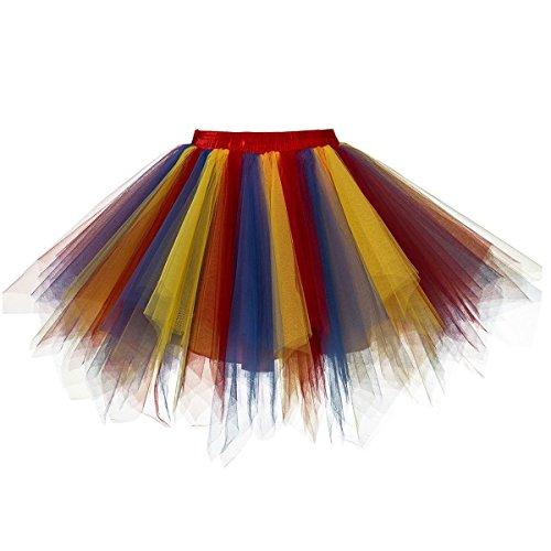 - URVIP Women's Vintage 1950s Tutu Multicolor Petticoat Ballet Bubble Dance Skirt Red Royal Blue Gold L/XL