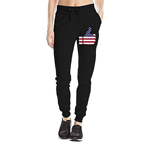 Flag Of Merica Women's Sweatpants Jersey Pocket Pant Drawstring Training Sports Yoga Jogger Pants With (Triple Bar Stripe Polo)