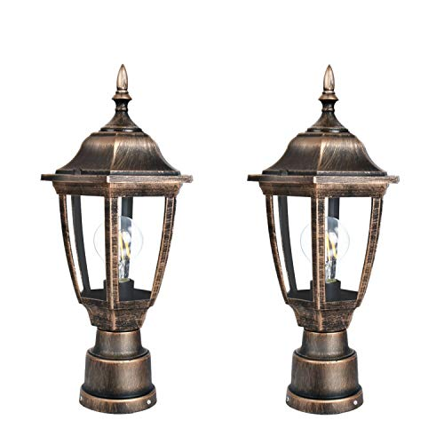 FUDESY 2-Pack Post Light Fixtures Outdoor,Plastic LED Black-Golden Post Lanterns Include 12W 1200LM Edison Filament Bulb(Corded-Electric), FDS2543G 2 Light Outdoor Post