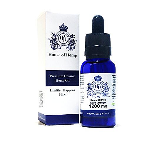 House of Hemp Premium Full Spectrum Hemp Oil | Pain Relief | Stress Mood Enhancer | Natural Sleep Aid | Anti-Inflammatory | Anti-Anxiety | Hemp Extract | Rich Omega 3,6 & 9 | (Natural, 1200mg)
