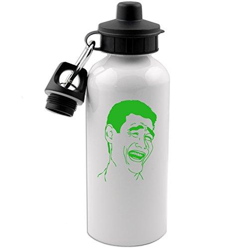 Yao Ming Bitch Please Meme Face 20 OZ White Aluminum Water Bottle (LIME GREEN) -