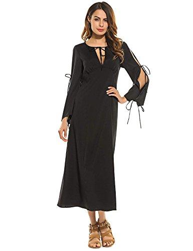 ZEARO Damen Kleid Abendkleid Partykleid Langarm Lang sexy elegant ...