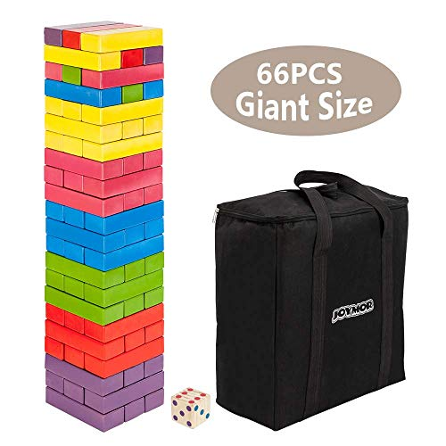 Jumbo Stack - JOYMOR Large Size Wooden Toppling Tower & Giant Stack Tumbling Timbers Game (Giant Size, Colorful)