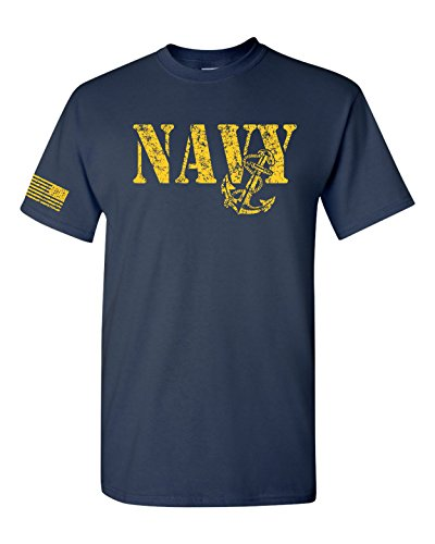 United States Navy Flag on Sleeve Men's T-Shirt