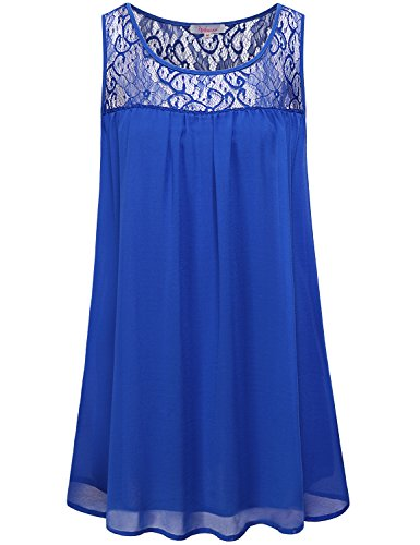 (Misswor Work Blouses, Ladies Shirt Boat-Neck Tops Sleeveless Tank Tops Latest Chic Lace Stitching Tunic Curved Hem Henley Blouse Soft Surroundings Daily Wear Blue)