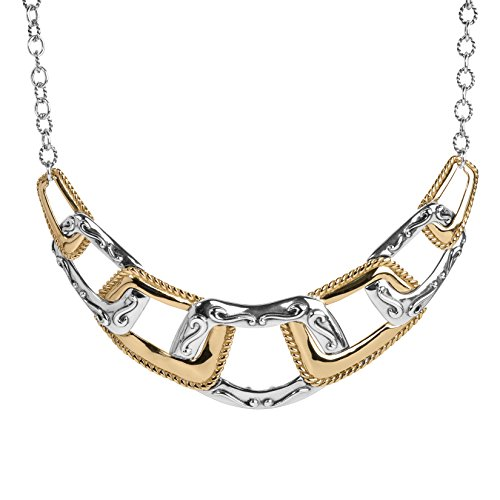 Carolyn Pollack Sterling Silver & Brass Statement 17 Inch Necklace by Carolyn Pollack